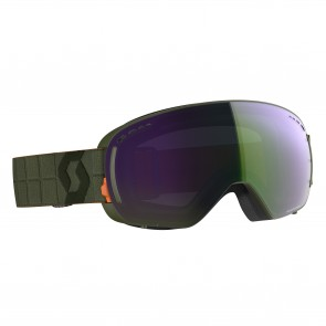 Masque de Ski Scott LCG Compact kaki green, écrans enhancer green chrome & illuminator blue chrome