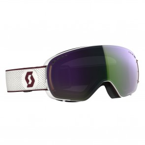 Masque de Ski Scott LCG Compact white / merlot red, écrans enhancer green chrome & illuminator blue chrome
